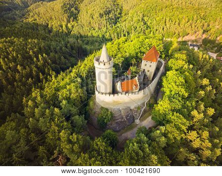Aerial view of medieval castle Kokorin in national park Kokorinsko nearby Prague in Czech Republic. Central Europe.