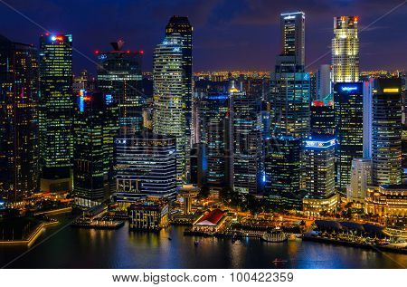 night view of Singapore downtown from above