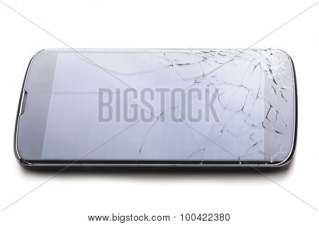 modern smartphone with cracked screen in one corner, isolated on white background