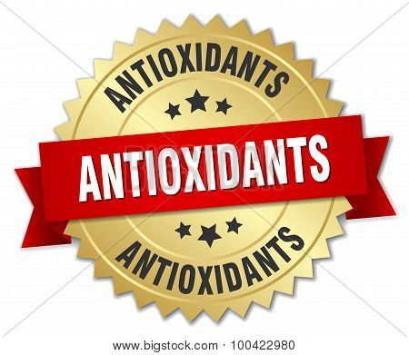 Antioxidants 3D Gold Badge With Red Ribbon