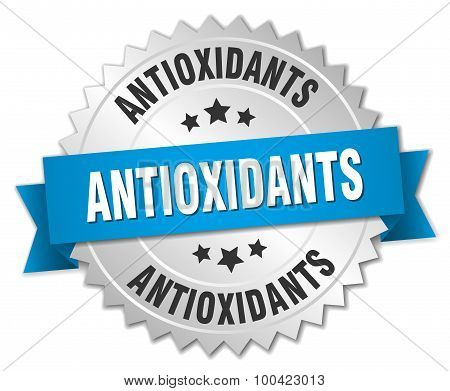 Antioxidants 3D Silver Badge With Blue Ribbon