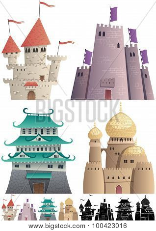 Cartoon Castles On White