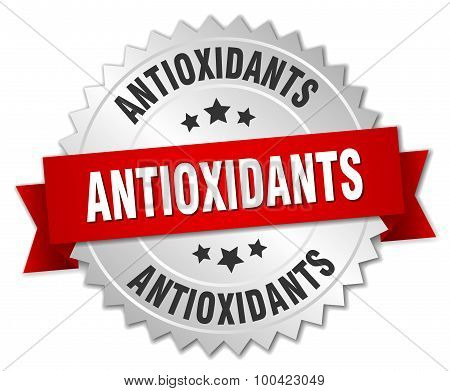 Antioxidants 3D Silver Badge With Red Ribbon