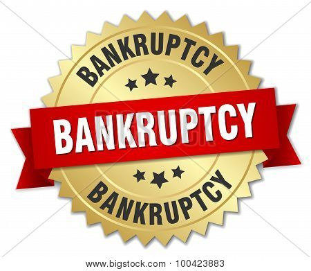 Bankruptcy 3D Gold Badge With Red Ribbon