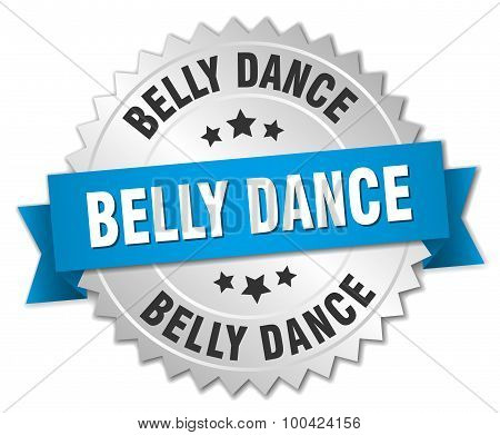Belly Dance 3D Silver Badge With Blue Ribbon