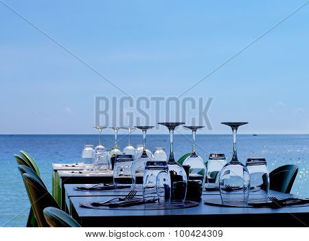Served Restaurant Tables On Sea Coast