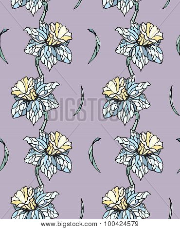 Seamless pattern background with narcissus