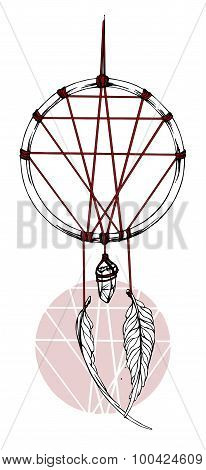 Indian dream catcher with red ribbon