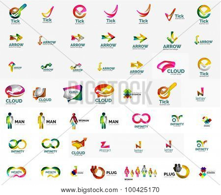 Large corporate company logo collection. Universal icon set for various ideas. illustration