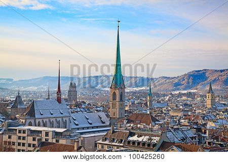 City center and famous Zurich churches covered by fresh snow