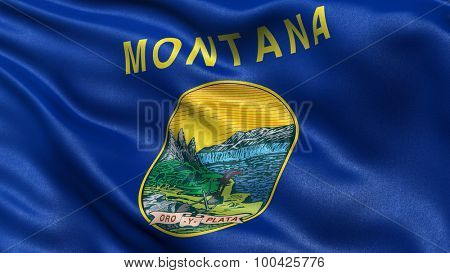 US state flag of Montana with great detail waving in the wind.