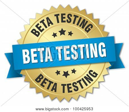 Beta Testing 3D Gold Badge With Blue Ribbon