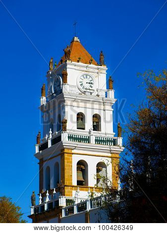 White Tower Of Metropolitan Cathedral In Sucre
