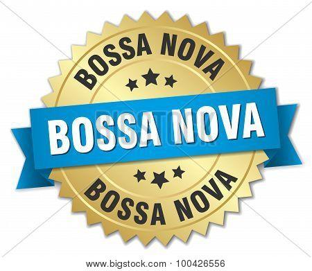 Bossa Nova 3D Gold Badge With Blue Ribbon