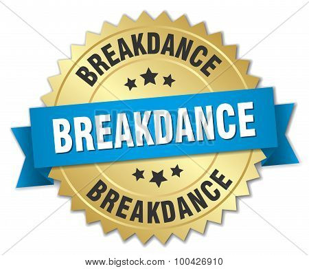 Breakdance 3D Gold Badge With Blue Ribbon
