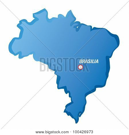 Drawing Map Of Brazil And Brasilia