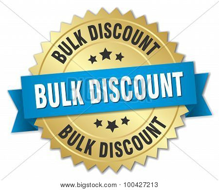 Bulk Discount 3D Gold Badge With Blue Ribbon