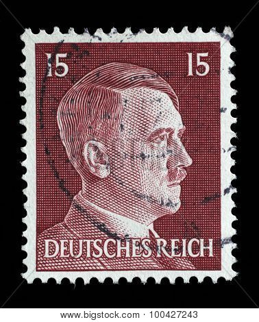 GERMAN REICH - CIRCA 1941: A stamp printed in Germany shows image of Adolf Hitler, series, 1941.