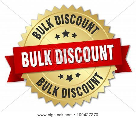 Bulk Discount 3D Gold Badge With Red Ribbon
