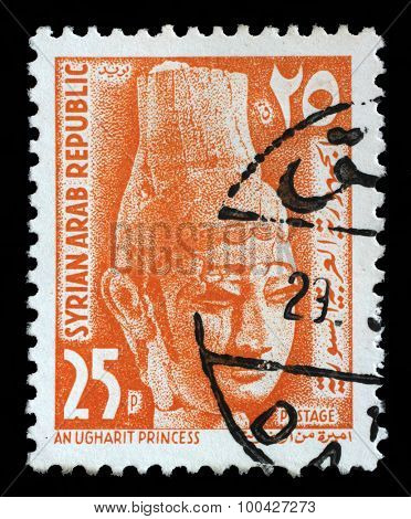 SYRIA - CIRCA 1964: A stamp printed in Syria shows Ugharit Princess, circa 1964.