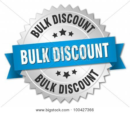 Bulk Discount 3D Silver Badge With Blue Ribbon