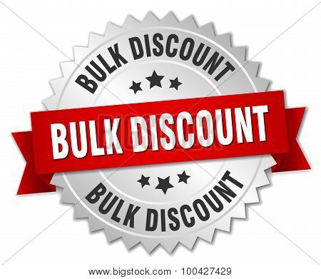 Bulk Discount 3D Silver Badge With Red Ribbon