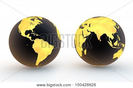 3d black and gold earth globes