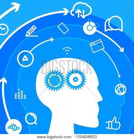 Workflow. Social media concept