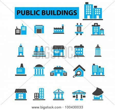 Public buildings, houses icons concept. Hospital, factory, mall, government building, city buildings, library building. Vector illustration set
