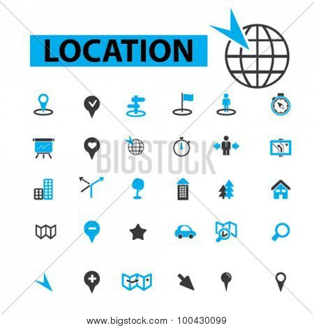 Location icons concept. Map,  gps,  direction,  place, navigation,  compass,  contact,  search. Vector illustration set