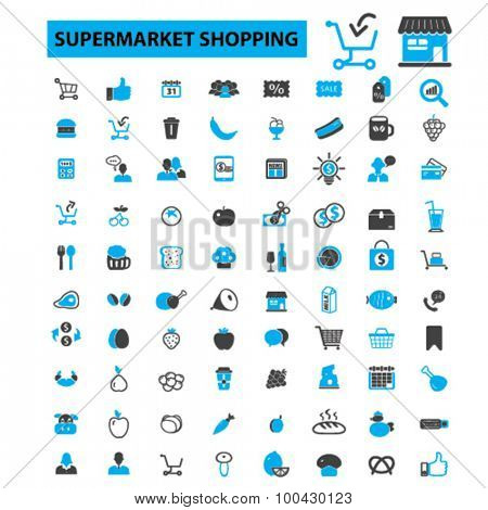 Supermarket shopping icons concept. Supermarket shelf, cart, supermarket aisle, retail, ecommerce, food store, grocery shopping. Vector illustration set