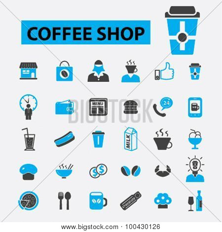 Coffee shop icons concept. Cafe, coffee cup, restaurant, shopping, cafeteria, outdoor cafe, cafe people, bar. Vector illustration set