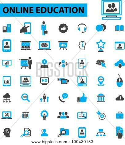 Online education icons concept. Online learning, e-learning, education, online training,  webinar, online class, business meeting. Vector illustration set