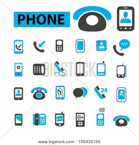 Phone, smartphone mobile icons concept. Vector illustration set