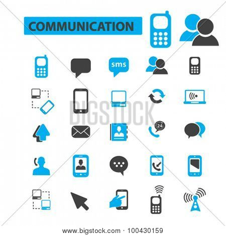 Communication, connection icons concept. Phone icon, email icon, telephone icon. Vector illustration set