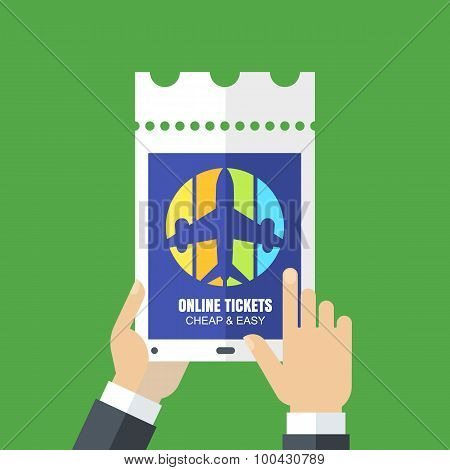 Mens Hands Holding Tablet With Web Site Of Booking Tickets Online. Abstract Vector Flat Background.