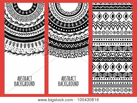 Set Of Vector Banners With Hand Drawn Ethnic Ornament Background. Tribal Black And White Seamless Pa