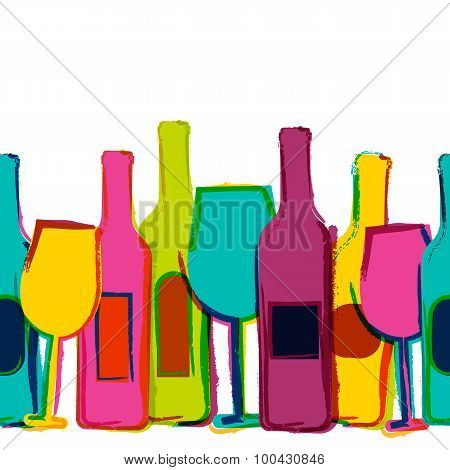 Vector Watercolor Seamless Background, Colorful Wine Bottles And Glasses. Concept For Bar Menu, Part