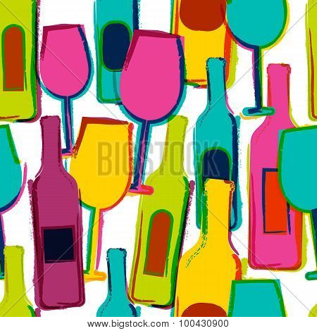 Abstract Watercolor Seamless Pattern, Multicolor Wine Glasses And Bottles