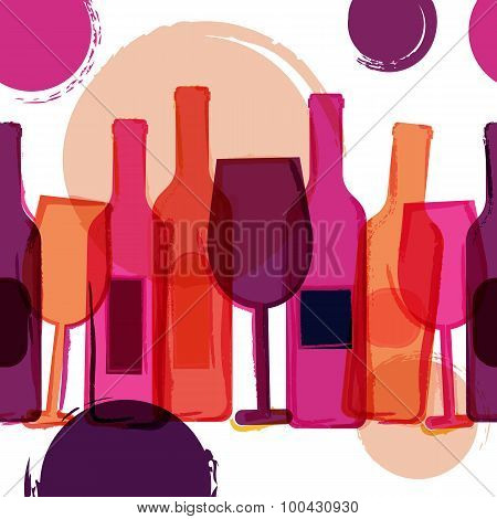 Abstract Seamless Vector Background. Red, Pink Wine Bottles, Glasses And Watercolor Blots.