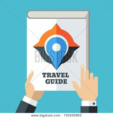 Mens Hand Holding Travel Guide. Creative Flat Illustration Of White Book, Compass And Waypoint Map S