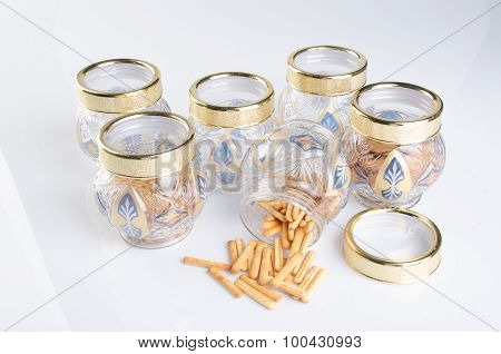 Candy Jar On A Background