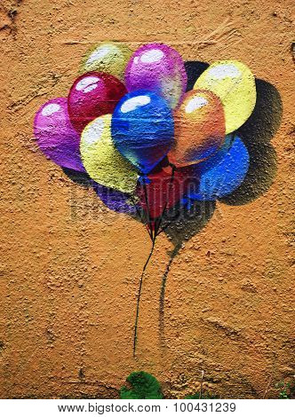 MOSCOW - SEPTEMBER 03, 2015: Graffiti on a urban wall (near Dmitrovskaya Subway Station).  Multicolored balloons