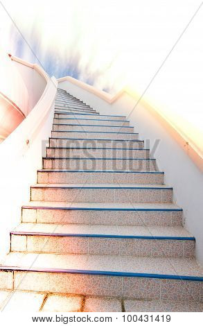 Ladder To Success : Stair And Beautiful Cloud And Sky