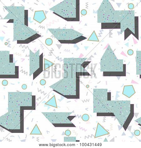 Abstract Colored Geometric Pattern In Style Of The 80's
