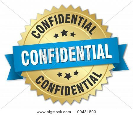 Confidential 3D Gold Badge With Blue Ribbon