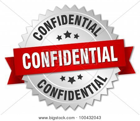 Confidential 3D Silver Badge With Red Ribbon