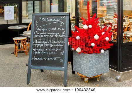 Restaurant menus and Christmas tree, Paris