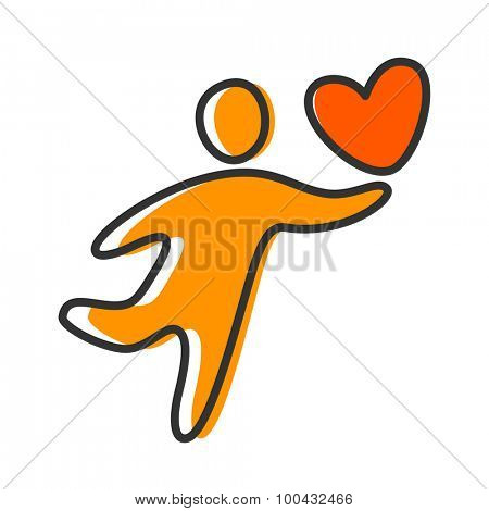 Person with a heart - the idea of a template logo or icon.
