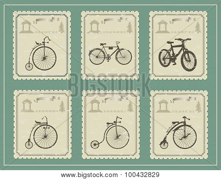 vintage stamps on a green background